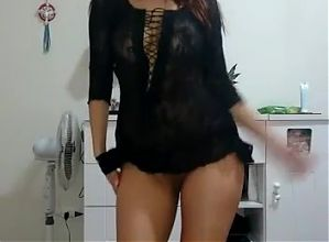 Girlfriend dances and strips