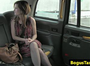 Real squirting model makes a mess in the taxi