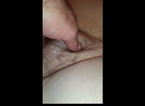 rubbing my uncut cock on the wifes hairy pussy bulge