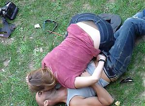 Man being wanked in public park