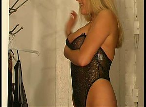 Blonde with big tits changing room voyeur