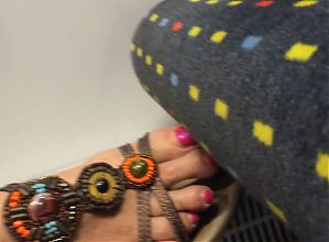 Mature but sexy feet on train