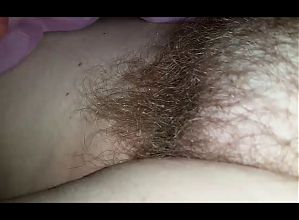 wifes soft hairy pussy with big long pussy strand