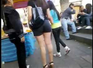 Candid sexy mom mini short and heels