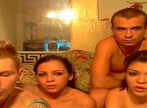 Two couples on webcam