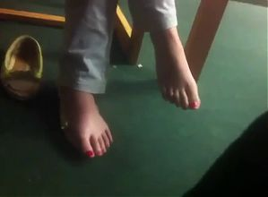hidden footsie in library with asian student,cute and shy