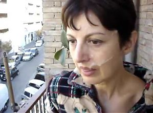 Cumface on balcony (short vid!)