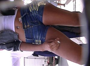 horny tanned babe in tight jeans - piercing