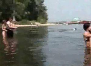 Fishing with nude Russian Teens